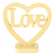 18mm MDF Small Love Heart on a stand