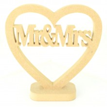 18mm MDF Small Mr & Mrs Heart on a stand