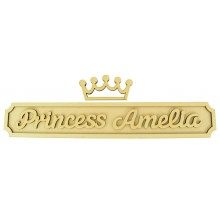 Laser cut Personalised Prince or Princess 3D Large Street Signs with Crown - 6mm - Curved Corners - 800mm Width