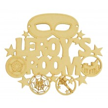 Laser Cut Personalised '.... Room' Sign with Superhero Mask and Shapes