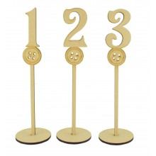 Laser Cut 6mm Wedding Table Numbers on Stands - Button Design