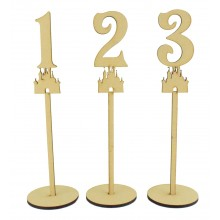 Laser Cut 6mm Wedding Table Numbers on Stands - Princess Castle Design
