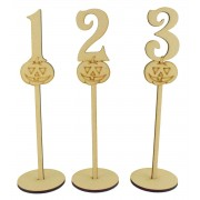 Laser Cut 6mm Wedding Table Numbers on Stands - Pumpkin Design