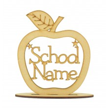Laser cut Personalised School Name Apple with stars on a stand - 150mm