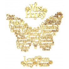 Laser Cut Personalised Teachers Word Art Butterfly Hanging from a Teachers name and with a Hanging Name underneath