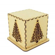 Laser cut Tea Light Box - Christmas Fancy Tree Design