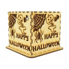 Laser cut Halloween Tea Light Box - Happy Halloween Design