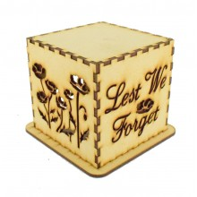 Laser cut Tea Light Box - 'Lest We Forget' Poppy Design