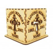 Laser cut Personalised Tea Light Box - 'In loving memory' Design