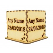 Laser cut Personalised Tea Light Box - 'Name & Date' Design
