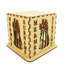 Laser cut Personalised Tea Light Box - Mr & Mrs with a Surname - Bride & Groom Design