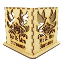 Laser cut Personalised Tea Light Box - Mr & Mrs with a Surname - Dove Design
