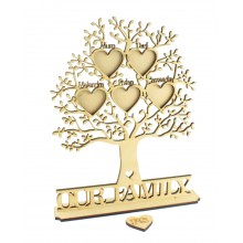 Laser Cut Personalised Family Tree with Heart Photo Frames with Names On a Stand - 6mm thickness