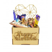 Laser Cut Valentines Hamper Treat Boxes - Geometric Heart Shape