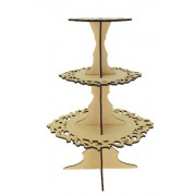 Laser Cut 3 Tier Fancy Cake Stand - 6mm - Options