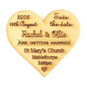 Laser Cut Personalised Save the Date Heart. Etched with Names, Wedding Venue, Time and Date
