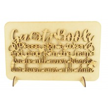 Laser Cut 'Guest Book. Please sign a token and drop it into the frame...' Wedding Sign on a Plaque & Stands