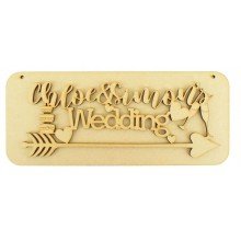 Laser Cut Personalised Hanging Wedding Sign on a Plaque