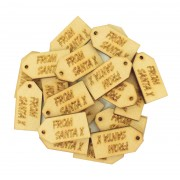 Laser Cut 'From Santa x' Traditional Gift Tag Shape with Hole - BULK BUY PACK OF APPROX 20