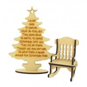Laser Cut 'Loved ones in heaven...' Christmas Tree with 6mm Rocking Chair
