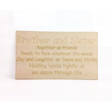 Laser Cut Naughty Chair Panel - 'Brother and Sister, together as friends...'