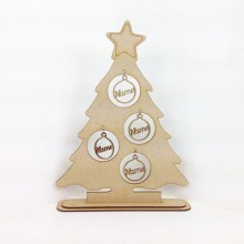 Laser Cut Single Family Christmas Tree on a stand with Personalised Bauble Decorations - 1-5 names