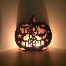 Laser Cut  'Trick or Treat' Pumpkin Tealight Holder