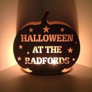 Laser Cut Personalised 'Halloween at the...' Pumpkin Tealight Holder