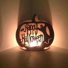 Laser Cut  'Happy Halloween' Pumpkin Tealight Holder