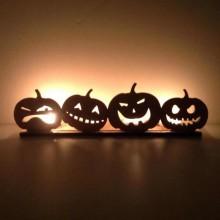Laser Cut Row of Pumpkins Tealight Holder - 6mm