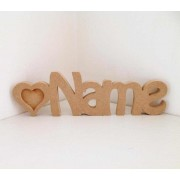 Freestanding MDF Personalised Name with Heart Frames