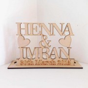 Laser Cut Personalised Names and Date on a Tealight Holder Stand - 6mm