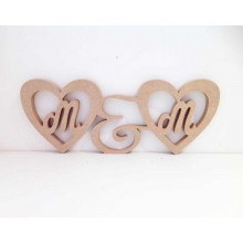 Freestanding MDF Personalised Initial Heart Frames Joined