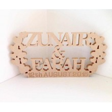 18mm Freestanding MDF Personalised Names and Engraved Date with Tumbling Heart Detail (BT)