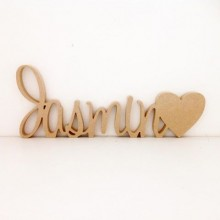 18mm Freestanding MDF Personalised Joined Name with Heart (Sw Script-100)