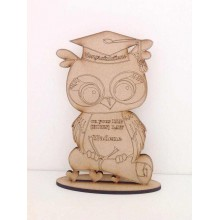 Laser Cut Personalised congratulations - Graduation Owl on a stand - 6mm