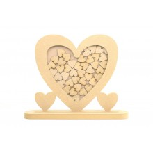 Freestanding MDF Unique Design Heart Frame Wedding Drop Box In a Stand - Heart Tokens
