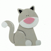Crafty Common Creatures - Grey Cat - Painted wooden Animals with felt detail.