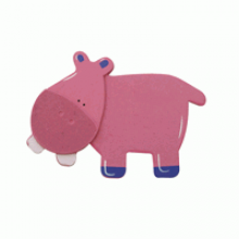 Crafty Common Creatures - Pink Hippo - Painted wooden Animals with felt detail.