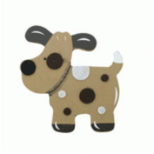 Crafty Common Creatures - Spotty Dog - Painted wooden Animals with felt detail.