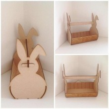 Laser Cut Plain Easter Bunny Basket