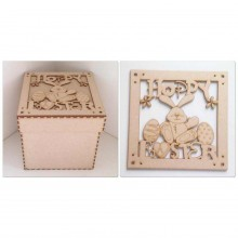 Laser Cut 'Hoppy Easter' Box Frame Top